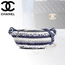 CHANEL Stripes Casual Style Blended Fabrics Bags
