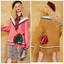 ELF SACK Cable Knit Stripes Casual Style Street Style V-Neck