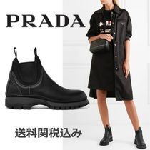 PRADA Round Toe Plain Leather Elegant Style Ankle & Booties Boots