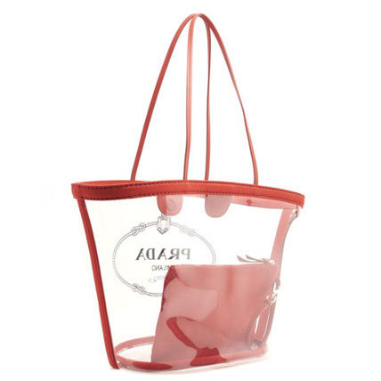 PRADA Totes Casual Style Blended Fabrics Plain Crystal Clear Bags 3