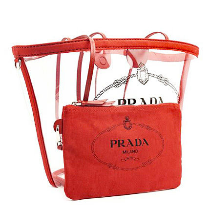 PRADA Totes Casual Style Blended Fabrics Plain Crystal Clear Bags 5