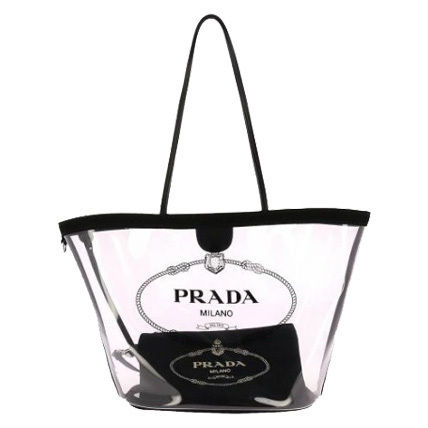 PRADA Totes Casual Style Blended Fabrics Plain Crystal Clear Bags 6