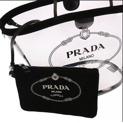 PRADA Totes Casual Style Blended Fabrics Plain Crystal Clear Bags 9