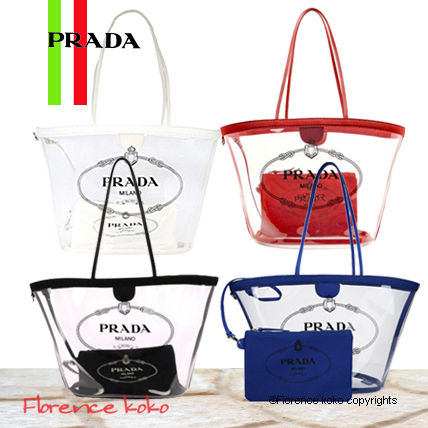 Casual Style Blended Fabrics Plain Crystal Clear Bags
