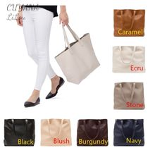 CUYANA Casual Style Plain Leather Totes