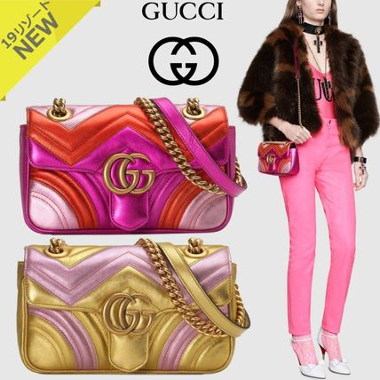 a195aa02d2cb7f GUCCI GG Marmont 2019 Cruise Stripes 2WAY Bi-color Chain Leather ...