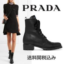 PRADA Round Toe Rubber Sole Plain Leather Elegant Style
