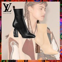 Louis Vuitton Plain Leather Block Heels Python Elegant Style