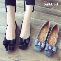 Other Check Patterns Square Toe Casual Style Flats