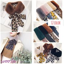 Dots Leopard Patterns Blended Fabrics Detachable Collars
