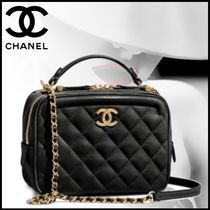 CHANEL Blended Fabrics Vanity Bags Chain Plain Leather