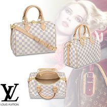 Louis Vuitton DAMIER AZUR 3WAY Leather Elegant Style Handbags