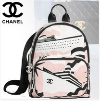 CHANEL Casual Style Calfskin Street Style Bi-color Backpacks