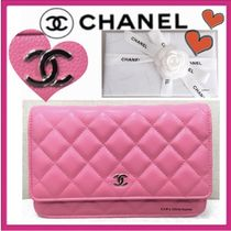 CHANEL CHAIN WALLET Casual Style Calfskin 2WAY Chain Plain Shoulder Bags