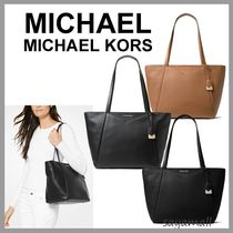 Michael Kors WHITNEY A4 Plain Leather Office Style Totes