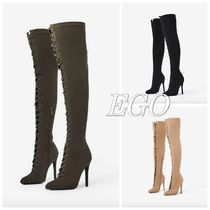 EGO Casual Style Plain Pin Heels Over-the-Knee Boots