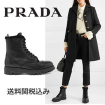 PRADA Platform Round Toe Plain Leather Elegant Style