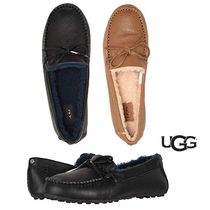 UGG Australia Round Toe Rubber Sole Plain Leather Loafer Pumps & Mules