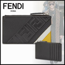 FENDI Monogram Calfskin Plain Coin Cases