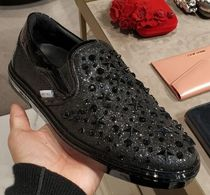 Jimmy Choo Star Blended Fabrics Studded Plain Leather Sneakers