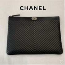 CHANEL BOY CHANEL Unisex Lambskin Plain Party Style Clutches