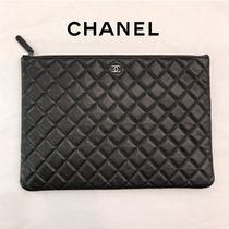 CHANEL TIMELESS CLASSICS Unisex Plain Leather Party Style Clutches