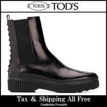 TOD'S Round Toe Rubber Sole Blended Fabrics Studded Plain Leather