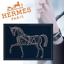 HERMES Blended Fabrics Art Patterns With Jewels Throws