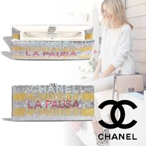 CHANEL Blended Fabrics Party Style Clutches
