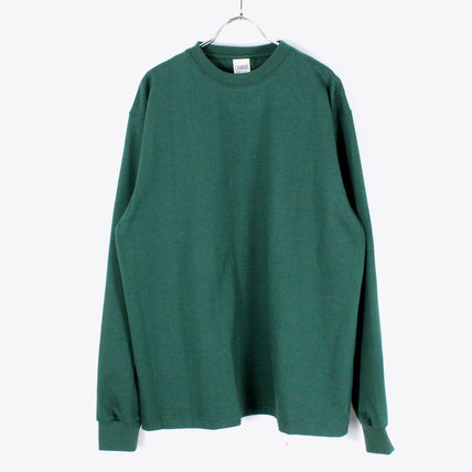 Crew Neck Pullovers Long Sleeves Plain Cotton