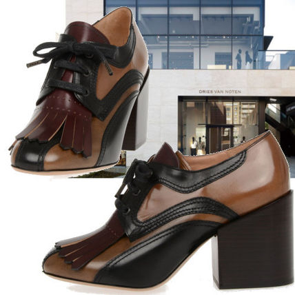 Square Toe Casual Style Plain Leather Fringes Chunky Heels