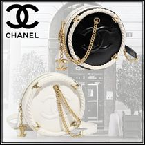 CHANEL Calfskin Studded 2WAY Chain Plain Elegant Style Bags