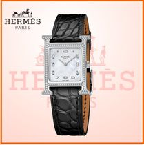 HERMES Blended Fabrics Square Jewelry Watches With Jewels