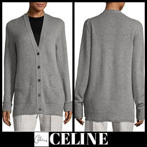 CELINE Casual Style Cashmere Street Style Long Sleeves Plain Medium