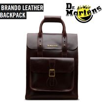 Dr Martens Unisex Street Style A4 2WAY Plain Leather Backpacks