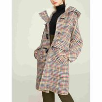 Other Check Patterns Casual Style Wool Long Oversized