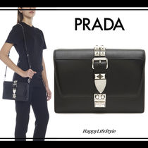 PRADA ELEKTRA Calfskin Studded 2WAY Bi-color Plain Elegant Style
