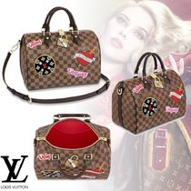 Louis Vuitton DAMIER 2WAY Leather Elegant Style Handbags