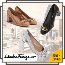 Salvatore Ferragamo Round Toe Blended Fabrics Plain Leather Block Heels
