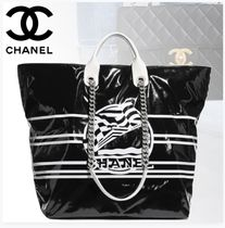 CHANEL Casual Style Unisex Blended Fabrics A4 2WAY Chain Plain