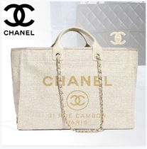 CHANEL Casual Style Unisex A4 Plain Totes