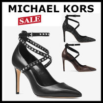 Michael Kors Plain Other Animal Patterns Leather Pin Heels Elegant Style