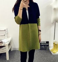 Casual Style Bi-color Long Sleeves Long Cardigans