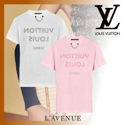 92b187de2434 ... Louis Vuitton T-Shirts Unisex Street Style Chain Cotton Medium Short  Sleeves ...
