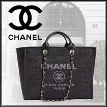 CHANEL DEAUVILLE A4 2WAY Chain Plain Elegant Style Totes