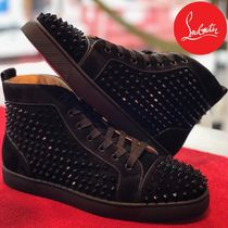 Christian Louboutin LOUIS Suede Studded Street Style Plain Sneakers