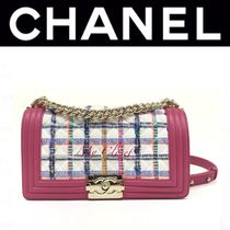 CHANEL BOY CHANEL Other Check Patterns Blended Fabrics Street Style 2WAY Chain