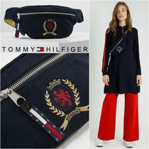 Tommy Hilfiger Stripes Casual Style Unisex Street Style Plain Shoulder Bags