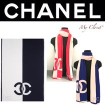 CHANEL ICON Unisex Cashmere Street Style Bi-color Oversized Scarves