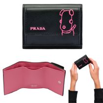 PRADA SAFFIANO LUX Saffiano Bi-color Other Animal Patterns Folding Wallets